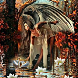 @asweetsmile1 portrait beautiful queen blendedimages blend creative swan woods background angel freetoedit