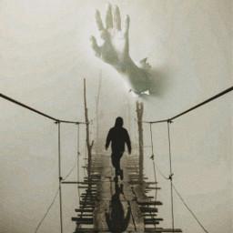 surreal hand fog bridge man myedit artistic myart madewithpicsart joannart becreative heypicsart picsartmaster freetoedit