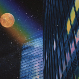 night building rainbow moon psychedelic beautiful colors heypicsart colorful stars luna makeawesome freetoedit unsplash
