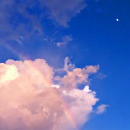 cloudsandsky skylover naturephotography clouds cloudysky rainbow sunset moon freetoedit