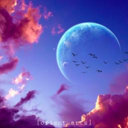 clouds sky planet moon birds orient_arts madewithpicsart heypicsart makeawesome picsart freetoedit
