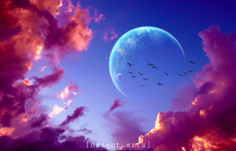 #clouds #sky #planet #moon #birds #orient_arts #madewithpicsart #heypicsart #makeawesome #picsart @picsart #freetoedit