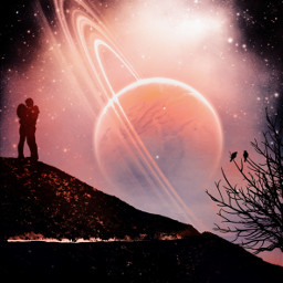 madewithpicsart love silhouette galaxy planet myedit freetoedit