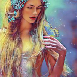 heypicsart magical portrait woman butterfly myedit madewithpicsart picsarteffects floramagiceffect sparklesbrush freetoedit