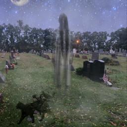 halloween halloweencat blackcat ghost spooky halloweencreatures halloweenspirit graveyard fullmoon night stars madewithpicsart stickers picsart freetoedit