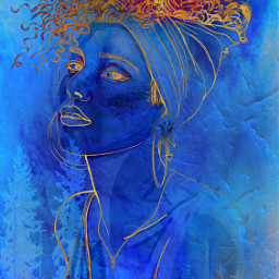 potrait inblue abstract colorfulhair gold myedit freetoedit