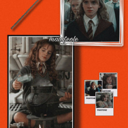 hermione hermionejean hermionegranger hermionejeangranger harrypotter hp red orange gold gryffindor ron weasley ronweasley hogwarts potter potterhead potterheads tomholland_wifecontest freetoedit