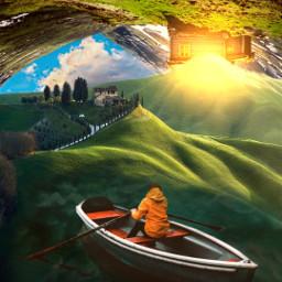 surreal landscape mountain upsidedown freetoedit