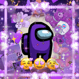 purple lavender aesthetic amongus among us impostor imposter purpleaesthetic emoji bear carebear heart hearts bling sparkles glitter butterflies flower frame cute pretty edit pic art freetoedit ircinnerartist innerartist