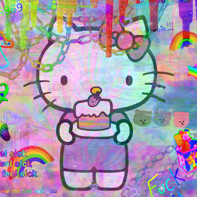 #hellokitty #hellokittyaesthetic #rainbow #rainbowcore #chaos #scene #scenecore #scenecoreaesthetic #scenecoreaesthetic #neon #bright #brightness #eyesore #eyebleed #eyebleedingcolors #vaperwave #bears #raindbows #bows #pinkbows #chains #rainbowchains #rainbowcolors #colors #halloween2020