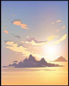 sky aquarelle watercolor cartoon art clouds painting anime animeskybackground sunset freetoedit