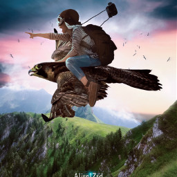 nature bird girl birds flying fly mountain clouds fantasy photographer alienized wallpaper uhd editedwithpicsart freetoedit