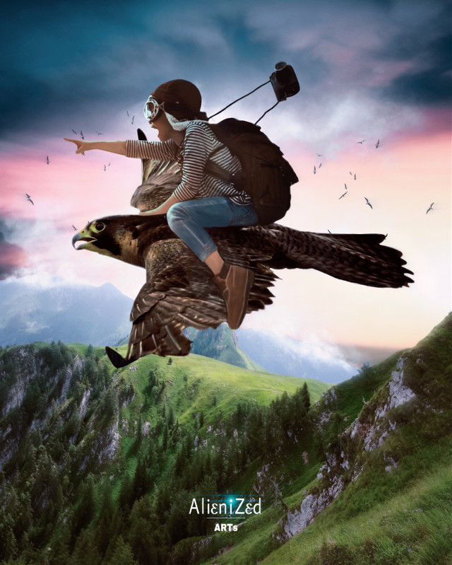 Wish you a fantastic Thursday and weekend planet 🖖🏻👽👉🏻🍪🍩☕️@PA 😊   #nature #bird #girl #birds #flying #fly #mountain #clouds #fantasy #photographer  #alienized #wallpaper #uhd #editedwithpicsart