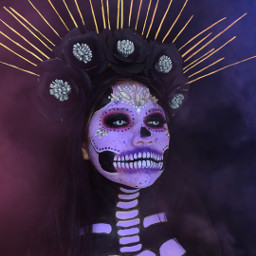 picsart picsartgold heypicsart madewithpicsart picsartedit picsarttutorial picsarthacks girl halloweenmakeup halloween diademuertos smoke red remixit freetoedit