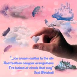 freetoedit pinkcloudbackground clouds feathers cloudcastle bird madewithpicsart fittool hand handholdingheartshapedcloud