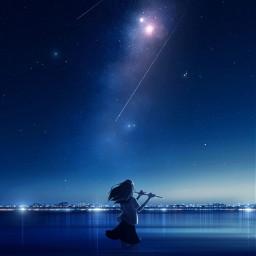 freetoedit ocean milkyway night fluteplayer
