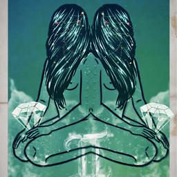 zodiac gemini twins nc86 blue pretty amazing naked girls clouds creative tarot mystic freetoedit