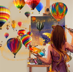 artist october canvas hotairballoon colorful female painter paint balloon girl art painting fall autumn season seasonal picsart picsarteffects freetoedit ircinnerartist innerartist
