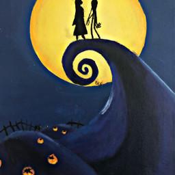 thenightmarebeforechristmas nightmarebeforechristmas jackskellington jack sally sallyskelligton painting halloweenpainting