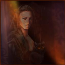 women madam donna lady frau misses miss comtesse cat katze black shadow light orange dankeschön freetoedit orange