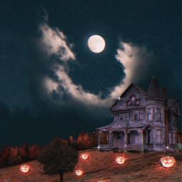 halloween huntedhouse house pumpkins pumpkin sky moon halloweenscream background freetoedit