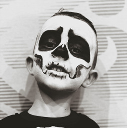 halloween skull skeleton makeup fear bnw child freetoedit