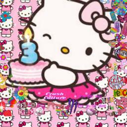 hellokitty buoncompleanno 3+ freetoedit 3 happybirthdayhellokitty