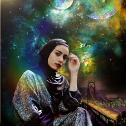 picsart fantasy multicolor creative galaxy planets myedit beautifuledit woman remixed freetoedit