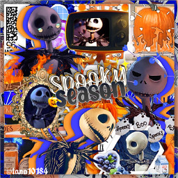 jackskellington jack skellington thenightmarebeforechristmas nightmarebeforechristmas halloween remixit freetoedit spooky skeleton orange purple