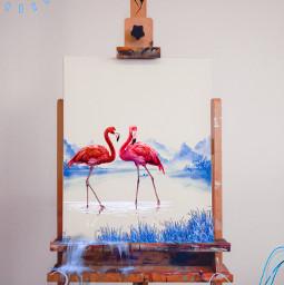 flamingo fenicotteri fenicottero blue blu lake draw painting paint tela dipinto water acqua acquarello freetoedit ircinnerartist innerartist