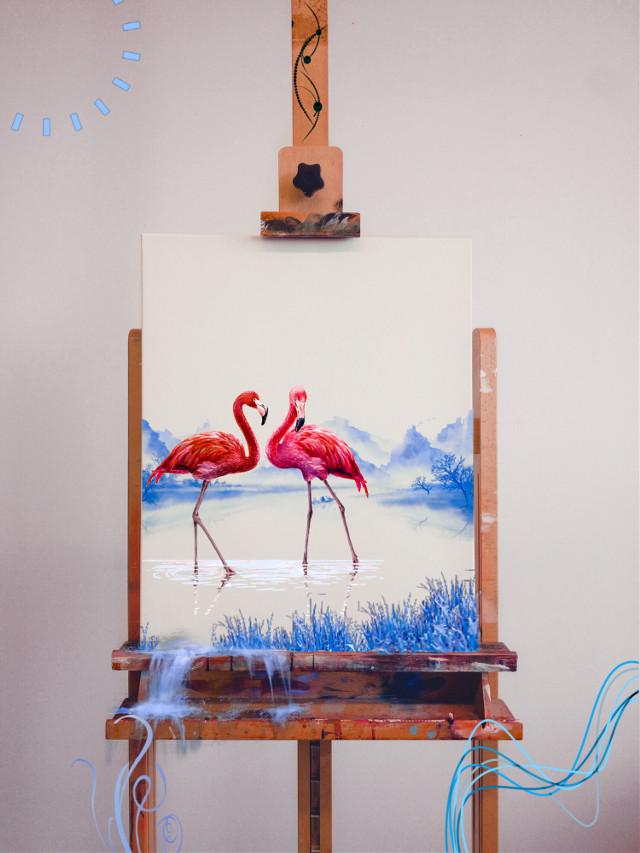 #flamingo #flamingo #fenicotteri #fenicottero #blue #blu #lake #draw #painting #paint #tela #dipinto #water #acqua #acquarello
