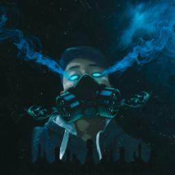unsplash picsart heypicsart freetoedit trends dark tintblue smoke glowingeyes memyselfandi