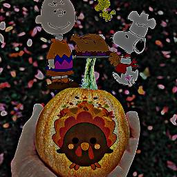thanksgiving snoopy charliebrown turkey dinner yummy hdreffect neoneffect woodstock pumpkin remixed art comic cartoon freetoedit