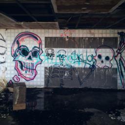 abanoned death grafitti skull decay