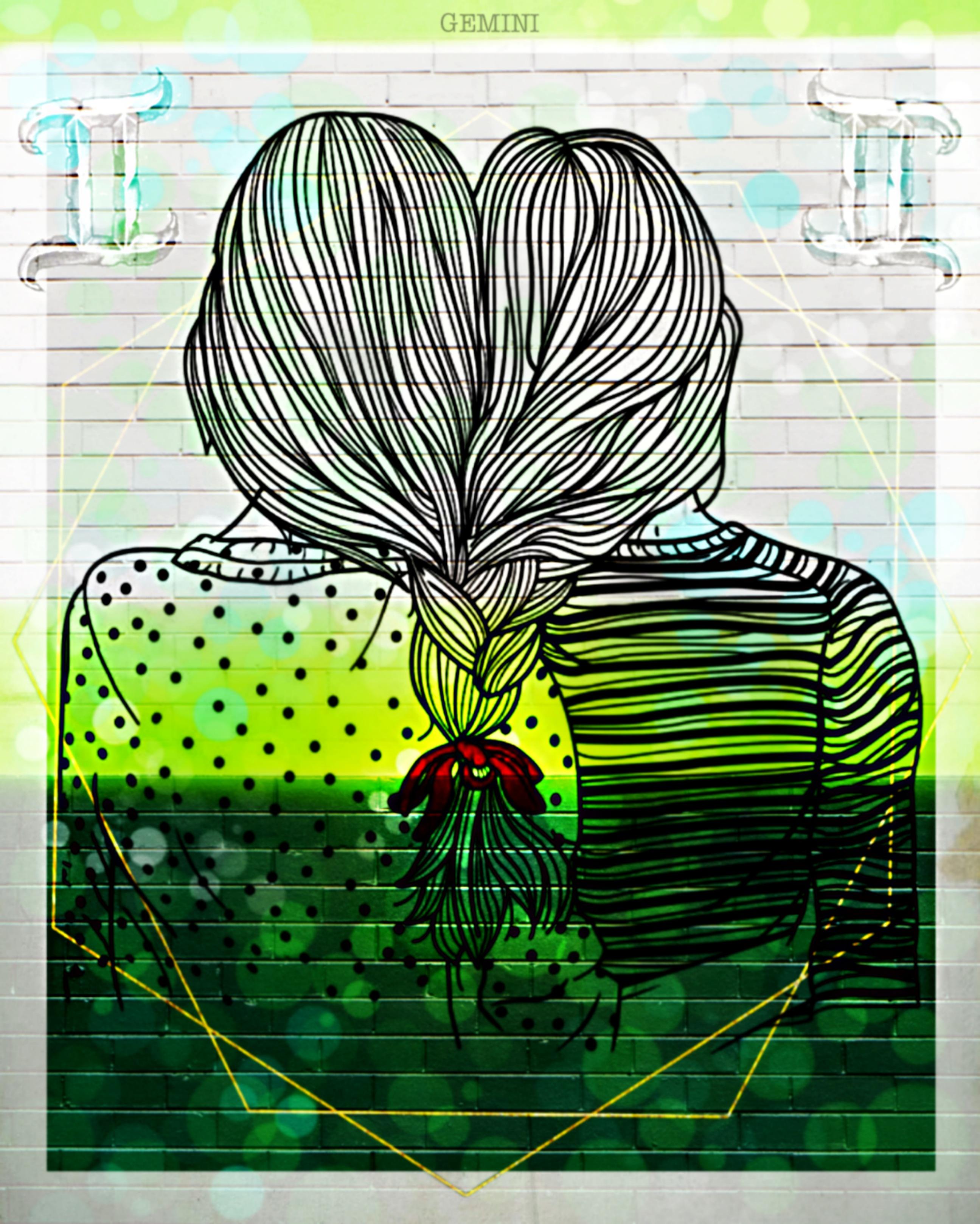 #gemini #zodiac #tarot #nc86 #girls #twins #green #symmetrical