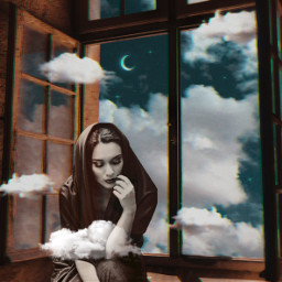 surreal thinking moon clouds freetoedit