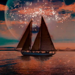 replay madewithpicsart doubleexposure moon sea dark reflection boat freetoedit