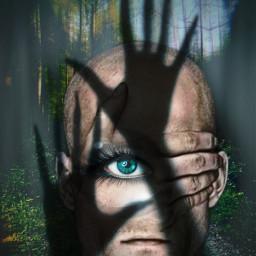 open man oneeye scary forest blackhands blueeye freetoedit