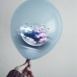 ballon moon cloud birds becreative creative creativeedit picsart picsartedit madewithpicsart freetoedit