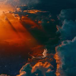 girl beauty beautiful stars night space creative pretty myedit imagination star fantasy dream dreamy sun clouds surreal sunlight light dark contrast art fantastic boat freetoedit