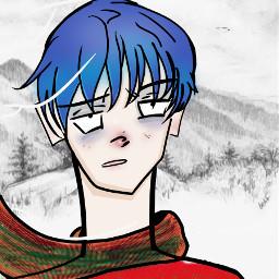 art nature interesting drawing illustration anime animedrawing blue winter snow winterdraiwng