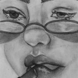 face lipstick art drawing pencil girl sad creative
