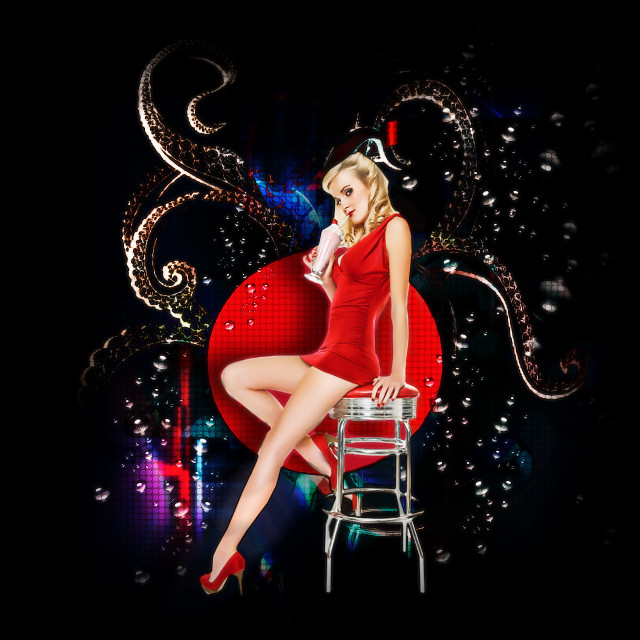 #pinupgirl #1950s #kraken #bubbles #sodapop #hot #cool #interesting #art #night #party #oldschool #style #wallpapers #backgrounds #design #magic #picsarts #knowskilz #denver