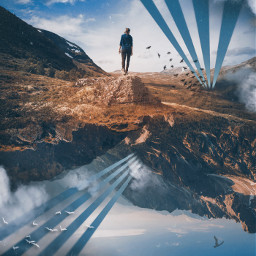 clouds sky mountains surreal dream geometric vintageeffect upsidedown edited myedit madewithpicsart freetoedit