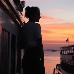 photography girl sunset girl-sunset onboat boat waybackhome silhouette eveningphotography eveningshoot cross people lifestyle life freetoedit