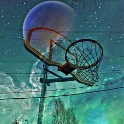 remixed basketball clouds stars moon sunset freetoedit irchoopdreams hoopdreams