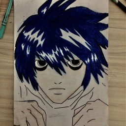 art blue l deathnote anime animedrawing drawing cizim