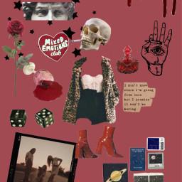 red dark aesthetic skull black freetoedit