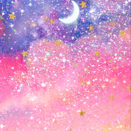 freetoedit glitter sparkle galaxy sky moon stars shimmer glitz clouds landscapes magical dream universe night crystals gold kawaii overlay background wallpaper