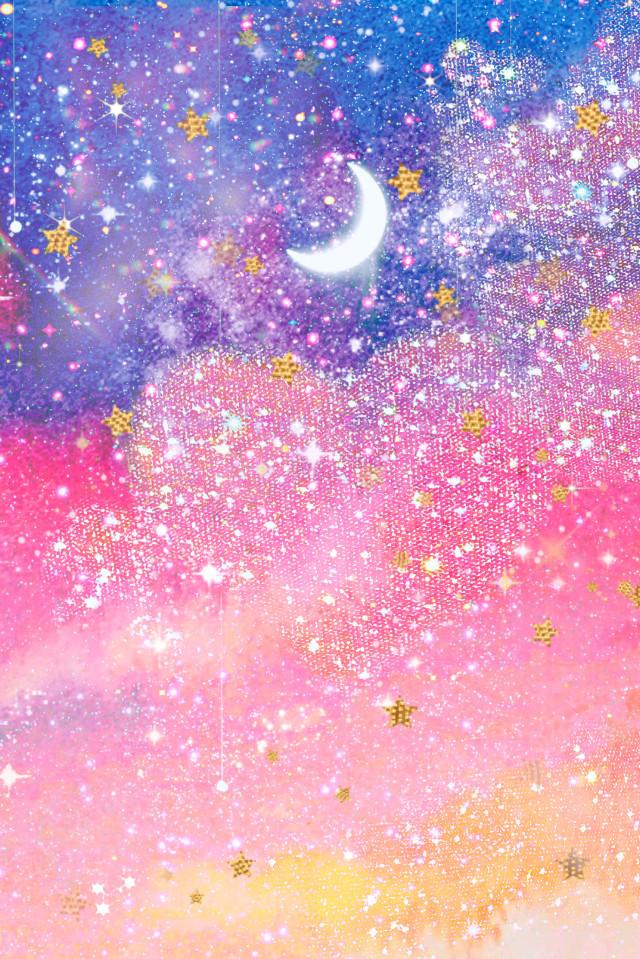 #freetoedit @mpink88 #glitter #sparkle #galaxy #sky #moon #stars #shimmer #glitz #clouds #landscapes #magical #dream #universe #night #crystals #gold #kawaii #overlay #background #wallpaper